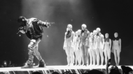 "A masked Kanye West performing ""I Am a God"" at Barclays Center on December 14, 2013 in Brooklyn, New York on The Yeezus Tour."