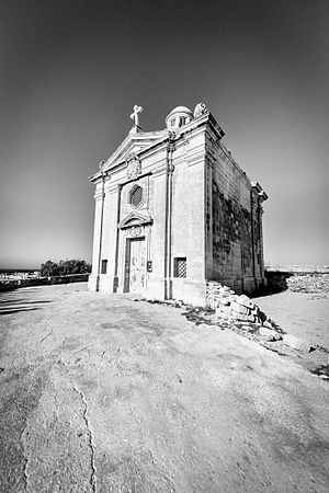 Chapel of St. Nicholas, Żonqor - A black and white photograph of the chapel