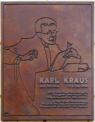 Karl Kraus (writer) - Plaque of Karl Kraus on the house where he was born in Jičín