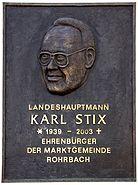 Karl Stix, Ehrenbürgertafel in Rohrbach bei Mattersburg