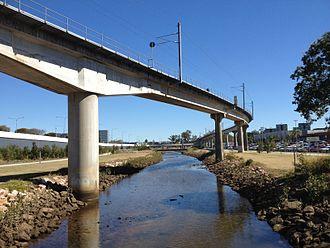 Airport railway line, Brisbane - Airtrain over the Kedron Brook