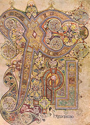 Kells, County Meath - Folio 34r of the Book of Kells is illustrated with the Chi Rho monogram