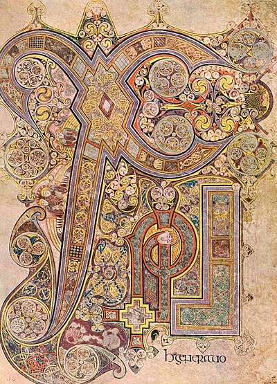 The Chi Rho monogram from the Book of Kells is the most lavish such monogram KellsFol034rChiRhoMonogram.jpg