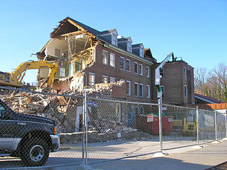 Kelso Home for Girls - Demolition of the Kelso Home building - view from existing fitness-center entry