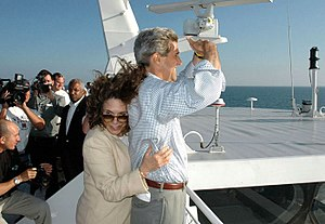 John Kerry presidential campaign, 2004 - Kerry and Teresa Heinz crossing Lake Michigan on the Lake Express ferry during the 2004 campaign