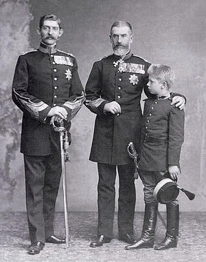Carol II of Romania - King Carol I of Romania with his nephew the future King Ferdinand and grand-nephew Prince Carol (Carol II).