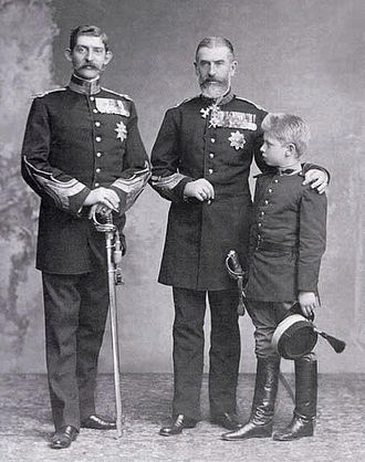 Carol II of Romania - King Carol I of Romania with his nephew the future King Ferdinand and grand-nephew the future King Carol II.