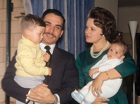 King Hussein and Princess Muna with sons 1964 (cropped)