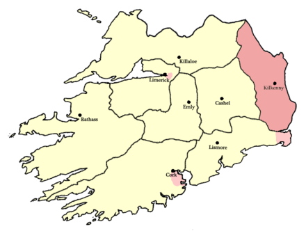 The Diocese of Ossory (red) as described at the Synod of Rath Breasail held on Ossory's northern border in 1111 AD. Kingdom of Ossory (circa 1111).png