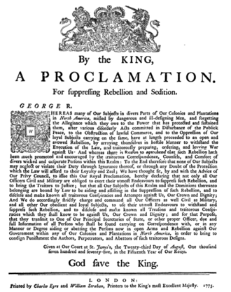 Proclamation of Rebellion - A 1775 printing of the proclamation