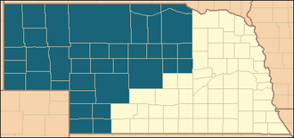 Kinkaid Act - Western Nebraska counties to which the Kinkaid Act applied.