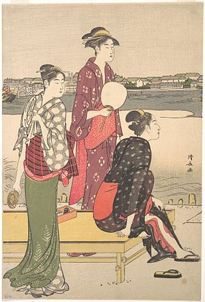 Three Beauties of the Present Day - The tall, graceful beauties of Kiyonaga's prints influenced Utamaro. Evening on the Banks of the Sumida River (right half of a diptych), late 18th century