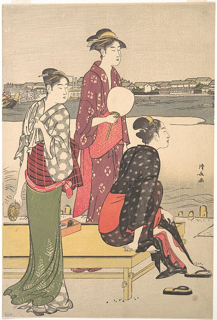 The tall, graceful beauties of Kiyonaga's prints influenced Utamaro. Evening on the Banks of the Sumida River (right half of a diptych), late 18th century Kiyonaga - Evening on the Banks of the Sumida River.jpg