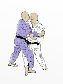 Illustration of Ko-uchi-gari Judo throw