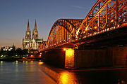 Hohenzollern bridge, with Cologne Cathedral and Museum Ludwig in the background