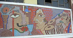Ceramic mural on the wall of Central Station, Kolkata Metro, located on Bow Bazar Street