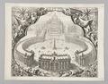 Kopparstick St. Peterskyrkan med Petersplatsen i Rom, 1663-tal - Skoklosters slott - 99716.tif