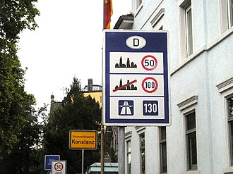 "Road traffic safety - Speed limits in different areas, unusually with only a ""recommended"" limit (130 km/h) for the Autobahn"