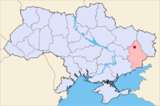 Kramatorsk on the map o Ukraine
