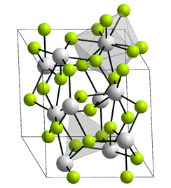 Unit cell, ball and stick model of plutonium(III) fluoride