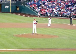 Kyle Kendrick - Kendrick pitches from a deliberate, slightly deceptive delivery; here he is in a game in September 2013