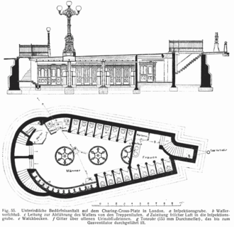 Potty parity - Plan of public toilets in Charing Cross Road, London, 1904. The men's facilities (left) comprise 12 cubicles and 13 urinals; whereas the women's facilities (right) comprise just 5 cubicles.