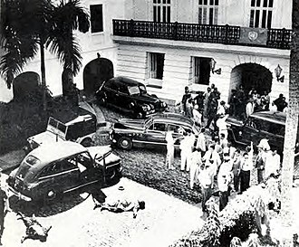 La Fortaleza - The bodies of two Nationalists lie in front of La Fortaleza