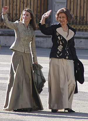 Queen Sofía of Spain - Sofía in 2009 with her daughter-in-law, Letizia
