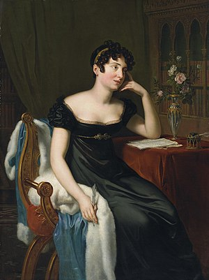 René Théodore Berthon - Lady Morgan, portrait, now at the National Gallery of Ireland.