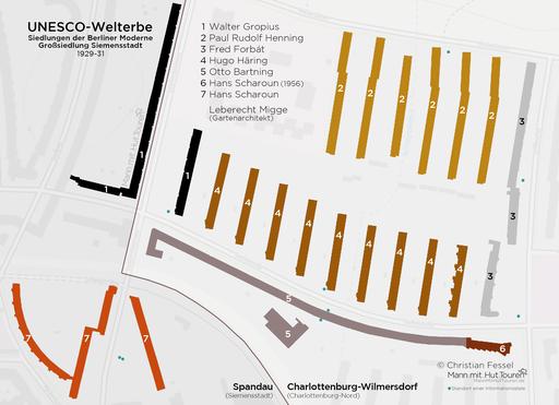 """Lageplan des UNESCO-Welterbe """"Großsiedlung Siemensstadt"""""""