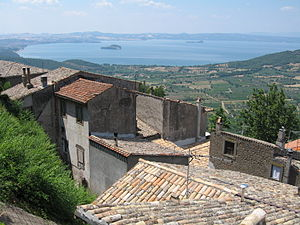 Lake Bolsena - The southernmost end of the lake viewed from the ridge of Montefiascone caldera. Martana is on the left and Bisentino on the right. The straight shore to the far left is Marta. To the left of Martana is the headland of Capodimonte.