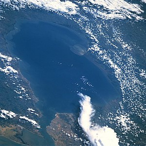 Lake Maracaibo - Lake Maracaibo from space (STS-51-I) in August 1985. North is at the bottom left of the image.