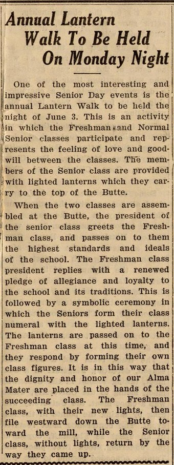 Old newspaper clipping describing the Lantern Walk tradition at ASU, May 30, 1929 Lantern Walk.jpg