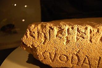 Lapis Satricanus - detail of the Lapis Satricanus