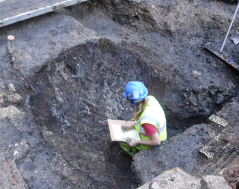 Late roman pit. Archaeological excavation shot