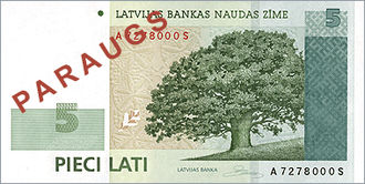 Latvian lats - Image: Latvia 2007 Bill 5 Obverse