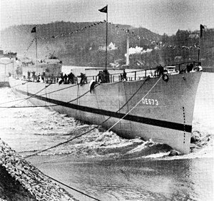 Launch of USS John P. Gray (DE-673) at the Dravo Corporation on 18 March 1944