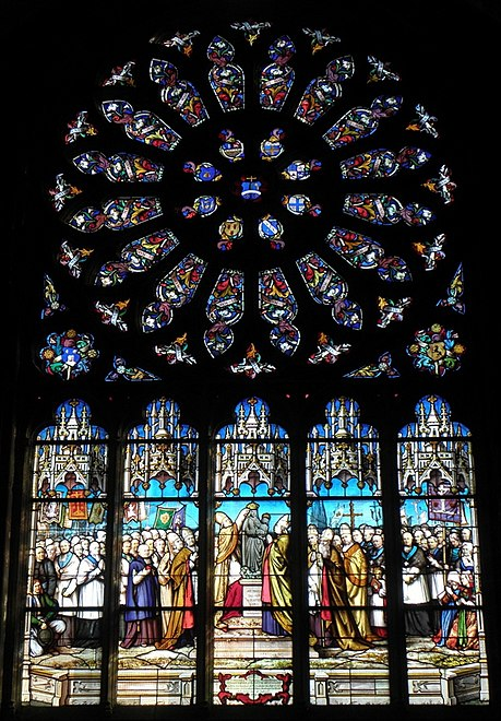 "The stained glass window depicting the ""coronation"" in the Basilique Le Folgoët"