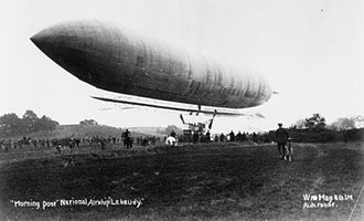 Lebaudy Frères - The British Army's Lebaudy Morning Post airship taking off.