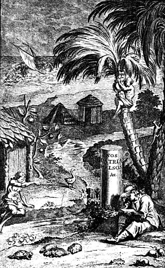 Frontispiece to Leguat's 1708 memoir, showing his settlement on Rodrigues, with tortoises and rats below Leguat1891frontispieceFr1708.jpg
