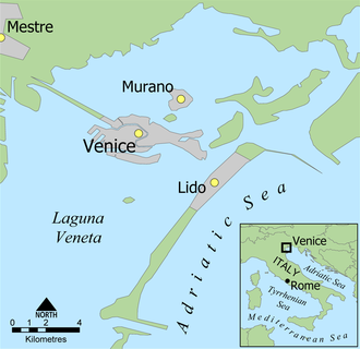 History of the Jews in Venice - Location of Venice in Italy and the Venetian Lagoon
