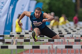 Leichtathletik Gala Linz 2018 men´s 110m hurdles Okafor-6401.jpg