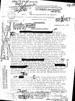 Document with portions of text blacked out, dated 1972.