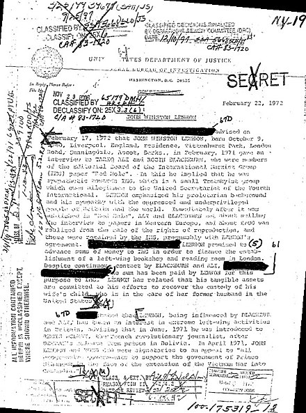 Confidential (here declassified and censored) letter by J. Edgar Hoover about FBI surveillance of John Lennon Lennon FBI Files after ny19p1.jpg