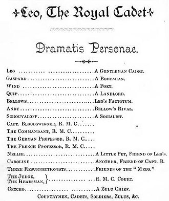 Leo, the Royal Cadet - Dramatis Personae, Leo, the Royal Cadet Opera based on Royal Military College of Canada