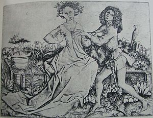 Patten (shoe) - Pair of Lovers, engraving by Master E.S., 1460s. He has discarded his very long left patten; she still wears hers.