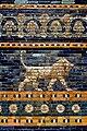 Lion and decorative glazed wall panel from the Throne Room of Nebuchadnezzar II from Babylon, Iraq. 6th century BCE. Pergamon Museum.jpg