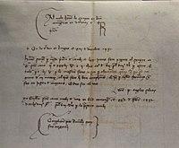 Lletra de canvi, manuscrit sobre paper, 1431, museu d'Història de València.JPG