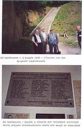 Pietro Ramella con due Miliziani Antifascisti spagnoli sopravissuti al campo di concentramento
