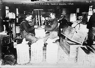 Benicia Arsenal - Workers loading cartridges for big guns at the arsenal